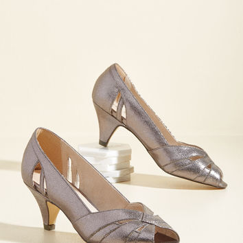 From Party to Finish Heel in Pewter | Mod Retro Vintage Heels | ModCloth.com