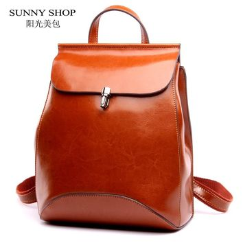 SUNNY SHOP Japan and Korean Style Genuine Leather Women Backpack Vintage School Backpack For Girls Brand Designer Bags Best Gift