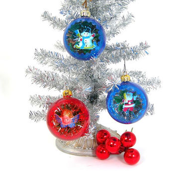 3 Christmas Tree Ornaments - Plastic Dioramas - Angel, Santa, Snowman, Red and Blue with Silver Interior Tinsel, Vintage 1960s Holiday Decor
