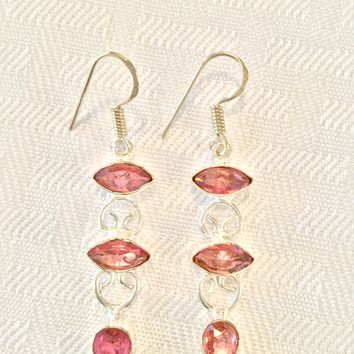 Kunzite sterling silver earrings