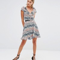 Oasis | Oasis Ditsy Print Frill Dress at ASOS