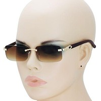 Mens CLASSY Style Wood Buff Retro 90s Hip Hop Rapper Gangster Rimless Sunglasses