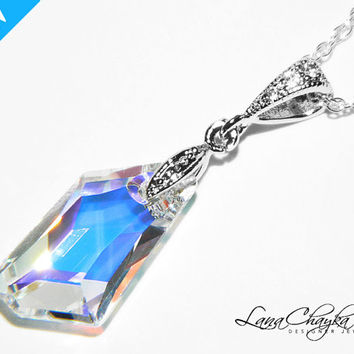 Swarovski Aurora Borealis Crystal Pendant 925 Sterling Silver Cubic Zirconia AB Crystal Necklace Wedding Maid of Honor Gift FREE US Shipping