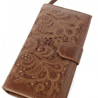 Retro Cut Out Floral Print Wallet in Brown - New Arrivals - Retro, Indie and Unique Fashion