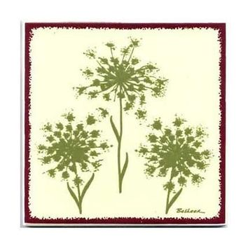 Queen Anne's Lace for Wall Plaque, Kitchen Backsplash or Bathroom Tile by Besheer Art Tile (BB-4)