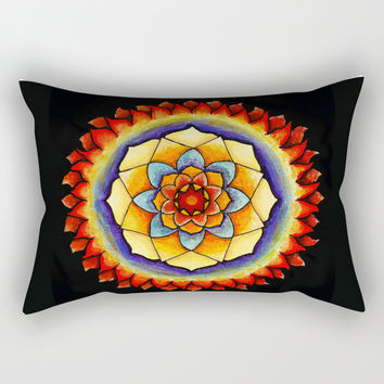 Sun and Flame Mandala Rectangular Pillow by Shashira Handmaker