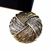 Round Two Tone Woven Brooch - Gold Tone & Silver Tone Weave or Braided Style - High Textured Metals - Designer Signed ART - Vintage 1960's