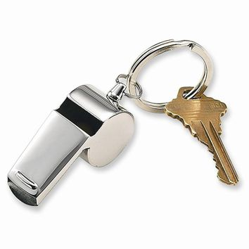 Stainless Steel Coach Whistle Key Ring - Engravable Personalized Gift Item
