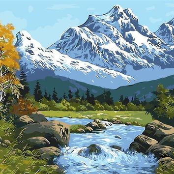 Lake and snow mountain drawings by numbers digital winter oil paintings living room home decor wall art pictures by numbers