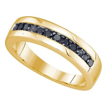 10kt Yellow Gold Mens Round Black Color Enhanced Diamond Wedding Band Ring 1/2 Cttw