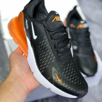 DCCK N449 Nike Air Max 270 2018 Summer Mesh Breathable Running Shoes Black White Orange