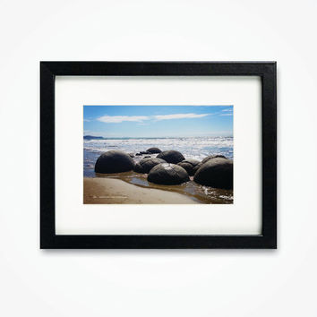 Photography Print Framed New Zealand Moeraki Boulders Sea Beach Photograph