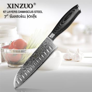 "XINZUO 7""inch Japanese chef knife 67 layers Japan Damascus steel kitchen knives sharp meat santoku knife with pakka wood handle"