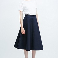 Carin Wester Berit Heavy Melton Skirt in Navy - Urban Outfitters