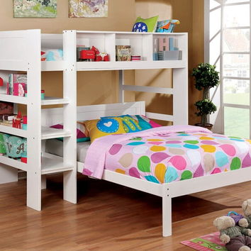 Annemarie collection white finish wood twin loft bed set with bookcase shelves