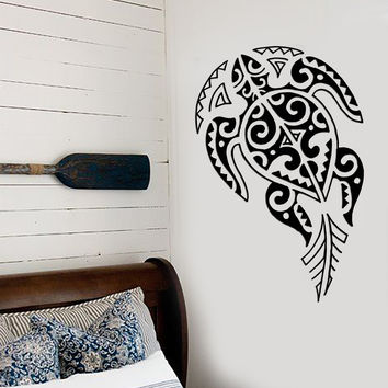 Vinyl Decal Turtle Ocean Sea Marine Tribal Decor Bathroom Wall Stickers (ig2729)