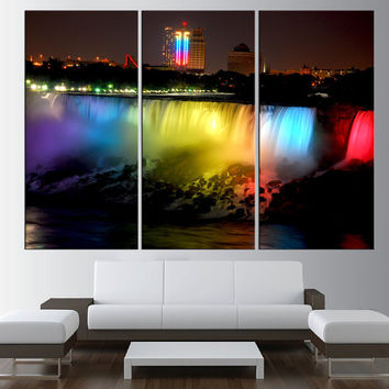 Niagara Falls wall art in the night colorfull lights, extra large wall art print canvas, ready to hang,  niagara falls canvas print t381