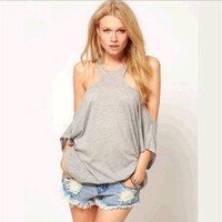 H-shaped Sleeveless Off-shoulder Casual Short Sleeves Short Blouse