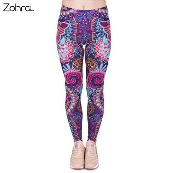 Zohra Fashion Retro Women Legins Mandala Flowers Pink Printing Legging Woman Cozy High Waist Leggings