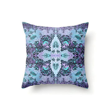Bohemian Rose Lace Throw Pillow in violet and blue