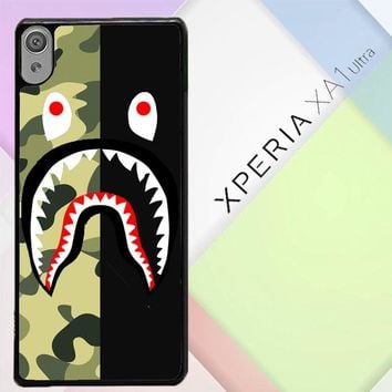 Half Camo Bape Shark Face Pattern L1951 Sony Xperia XA1 Ultra Case