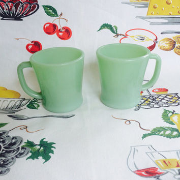 1940s Fire-King Jadeite Mugs Set of 2 Jade-ite Jadite  FireKing Anchor Hocking Vintage Kitchen