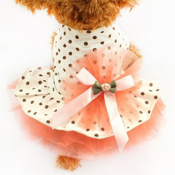 Super Cute Fluffy Dot Gauze Dog Dresses