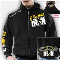 Generation Iron (OFFICIAL LICENSED) Zipper Hoodie: Black : Monsta Clothing Co, Bodybuilding Clothing, Powerlifting Apparel, Weightlifting Shirts, Workout Clothes and MORE