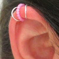 Ear Cuff, Cartilage Cuff, Ear Wrap, Beaded Ear Cuff, Helix Accessory, No Pierce Cartilage Jewelry, Beaded Ear Wrap, Silver Ear Cuff,