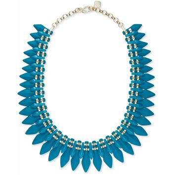 Kendra Scott: Lazarus Gold Statement Necklace In Teal Marbled Acrylic