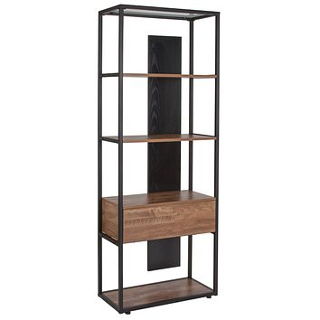 Cumberland Collection Bookshelf Drawer and Shelves in Wood Grain Finish
