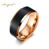 Meaeguet Black Tungsten Carbide Ring Rose Gold Color Engagement Ring For Men Jewelry
