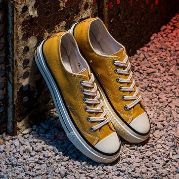 LMFUG7 Converse' Fashion Canvas Flats Sneakers Sport Shoes low tops yellow