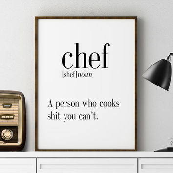 DEFINITION OF CHEF Funny Wall Art Printable Definition Name Definition Funny Poster Definition Print Definition Poster Typography Art Print