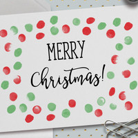 Merry Christmas Card, Red and Green Polka Dots, Festive Polka Dots,Merry Christmas,Happy Holidays,Classy Christmas Card,5.5 x 4.25 Inch (A2)