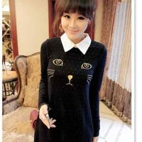 Polka Dot Long Sleeve Embroid Cat Head Pattern Women Girl Knitted SweaterTops