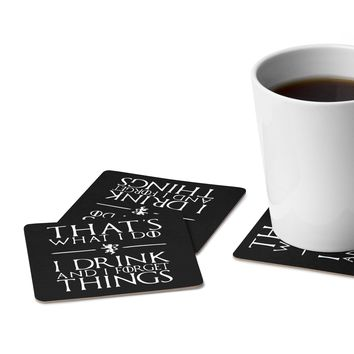 I Drink and I Forget Things | Game of Thrones | Tyrion Lannister | Square Paper Coaster Set - 6pcs