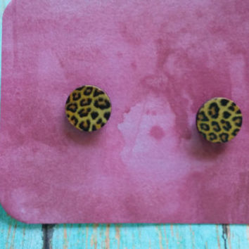 Cheetah Print Studs / Wood Stud Earrings / Earrings Under 5 / Affordable Earrings / Animal Print Studs / Tribal Earrings