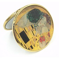 Klimt The Kiss Purse Handbag Cosmetic Magnification Mirror 2.75H