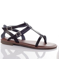 Bamboo Shoes Snake In The Grass Gladiator Thong Sandals - Black