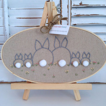 "Family Tree Embroidery Hoop, One Of A Kind, 9"" Oval Wood Hoop, Bunny Family, Hand Drawn, Hand Stitched, Linen Fabric, Cotton Flosses"