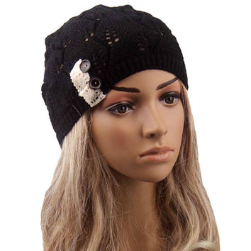Feitong New 2016 Winter Hat For Women Leaves solid color Button Hollow Out knitted Hat Cap Female Fashion Skullies Bonnet femme