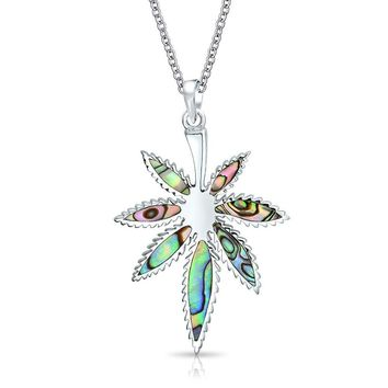 Marijuana Weed Leaf Dangle Pendant Abalone Necklace Sterling Silver
