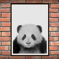 Panda Print, Panda Bear, Grey Gray Nursery Wall Art, Black and White Animal, Nursery Print, Printable Kids Gift, Instant Download *62*