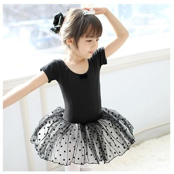 Free Shipping Chiffon Nutcracker Dancewear For 3-13Y Girls Kids Body Dance Children Romantic Ballet Tutu Black Swan Lake Costume