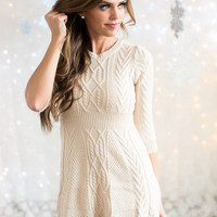 Just Kiss Me Sweater Dress Oatmeal