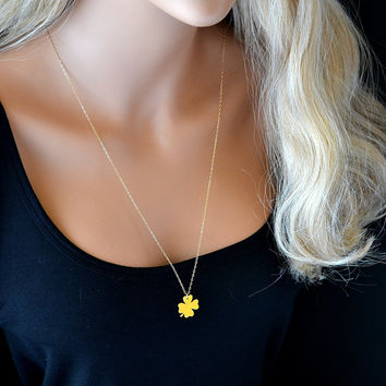 Gold Clover Necklace, Long Gold Clover Necklace, Celebrity Inspired Necklace, Simple Gold Clover Necklace