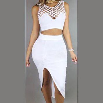 Pure Color Grid-mesh Crop Top with Irregular Skirt Two Pieces Dress Set