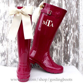 Custom Monogrammed Berry Gloss Rain Boots with White Bows