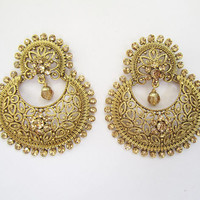 gold Bridal Round Chand Earrings/Indian crystal Drop/Punjabi Chaand Earring/indian jewelry/bollywood jewelry/indian jewelry online/polky
